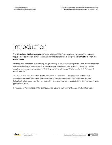 WDTC 01 D365 WG 1 PDF: Waterdeep Trading Company Project - Module 1:  Setting up a Cloud-hosted environment for Dynamics 365 (Digital)