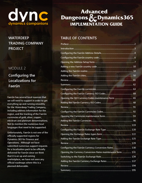 WDTC 02 D365 WG 1 PDF: Waterdeep Trading Company Project - Module 2:  Configuring the Localizations for Faerûn (Digital)