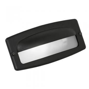 Oaks Outdoor Black Finish Half Cover Recessed Brick Light 071 BK by Oaks Lighting