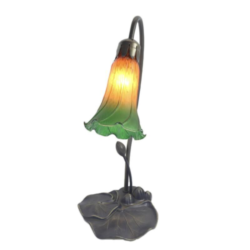 Green Single Lily Glass Lamp