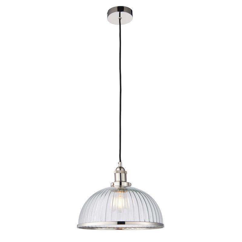 Hansen 1lt NIckel Ceiling Pendant Light by Endon Lighting