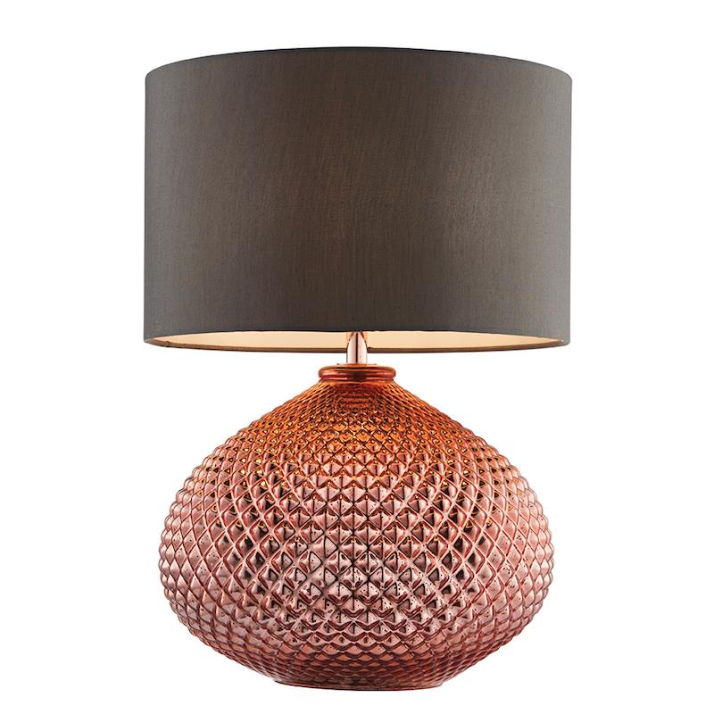 Livia 1lt Copper Table Lamp by Endon Lighting