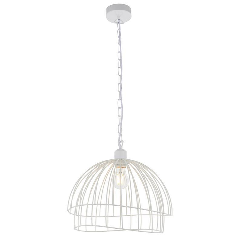 Jericho 1lt White Ceiling Pendant Light easyfit by Endon Lighting