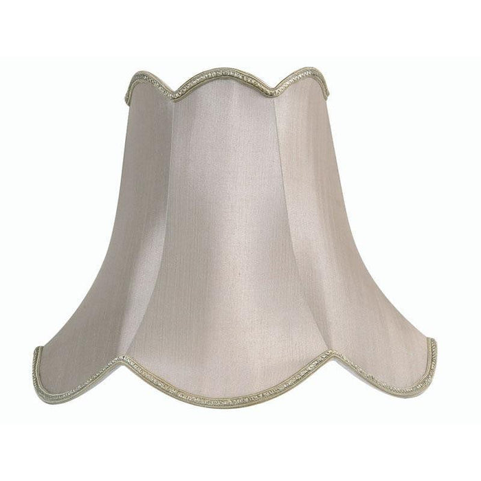 Lamp Shade - Scalloped Soft Grey Faux Silk Lined S701/12 SG