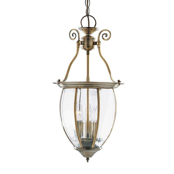 Antique Brass 3 Light Curved Glass Lantern Ceiling Light