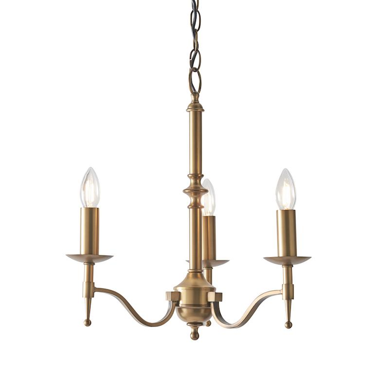 Stanford 3 Light Antique Brass Finish Chandelier CA1P3B