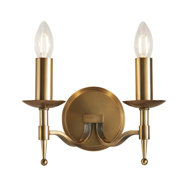 Stanford Antique Brass Finish Double Wall Light CA1W2B