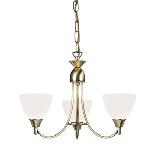 Art Deco Ceiling Light - Alton 3 Arm Antique Brass Finish Pendant Ceiling Light 1805-3AN
