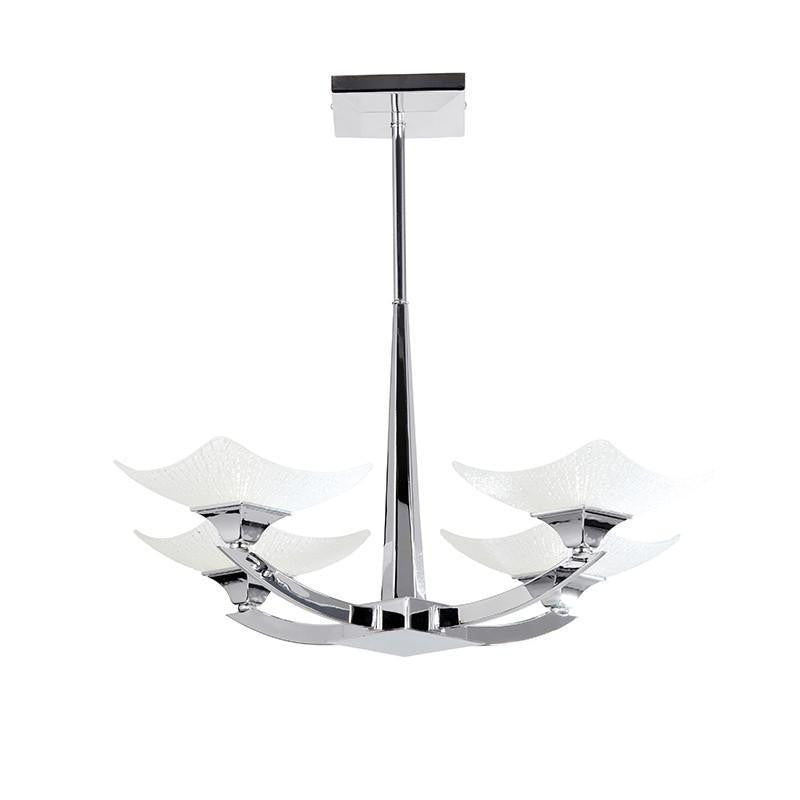 Art Deco Ceiling Light - Ayres 4 Arm Chrome Finish Semi Flush Ceiling Light AYRES-4CH