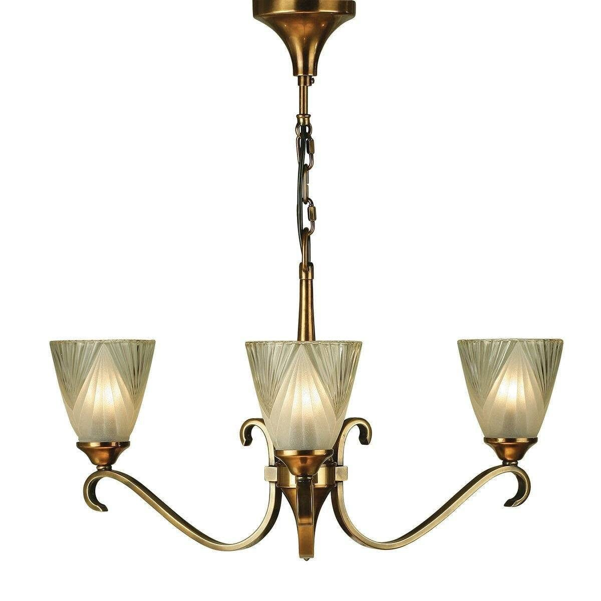 Art Deco Ceiling Light - Columbia 3 Light Brass Finish Chandelier 63436