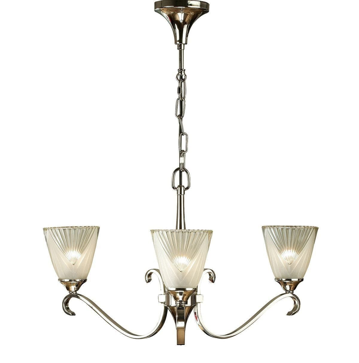 Art Deco Ceiling Light - Columbia 3 Light Polished Nickel Finish Chandelier 63440