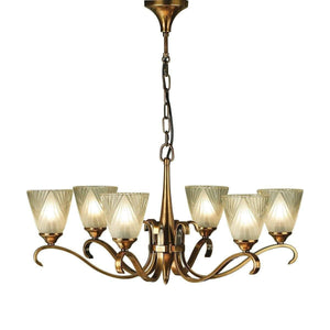 Art Deco Ceiling Light - Columbia 6 Light Brass Finish Chandelier 63437