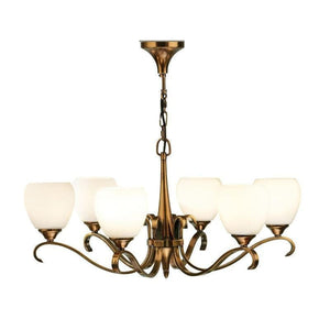 Art Deco Ceiling Light - Columbia 6 Light Brass Finish Chandelier 63438