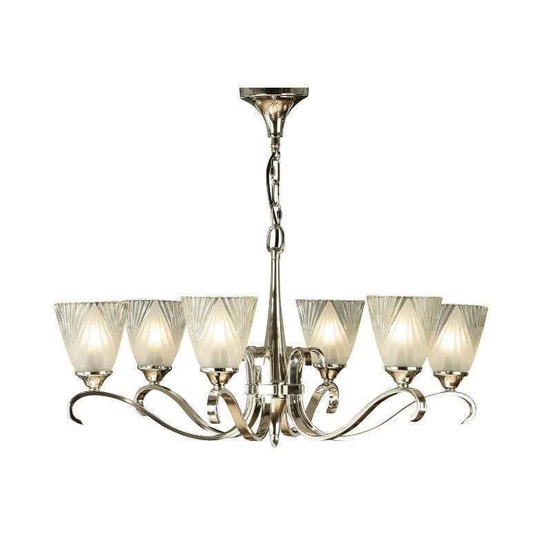 Art Deco Ceiling Light - Columbia 6 Light Polished Nickel Finish Chandelier 63442