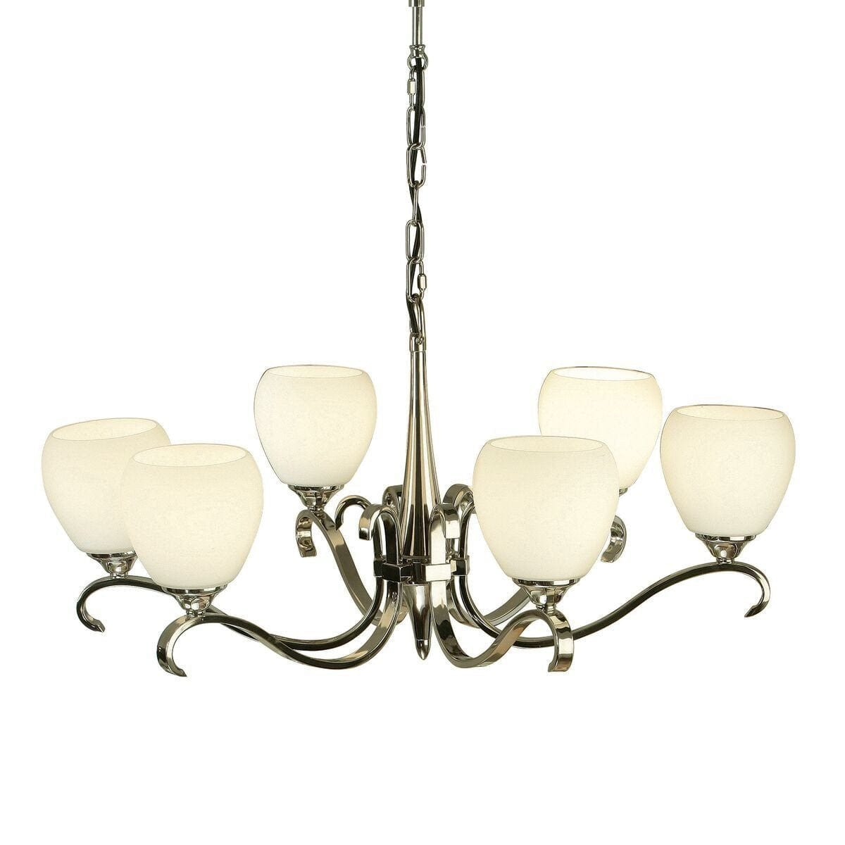 Art Deco Ceiling Light - Columbia 6 Light Polished Nickel Finish Chandelier 63443