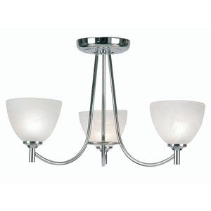 Art Deco Ceiling Light - Hamburg 3 Arm Chrome Finish Art Deco Ceiling Light 1178/3 CH