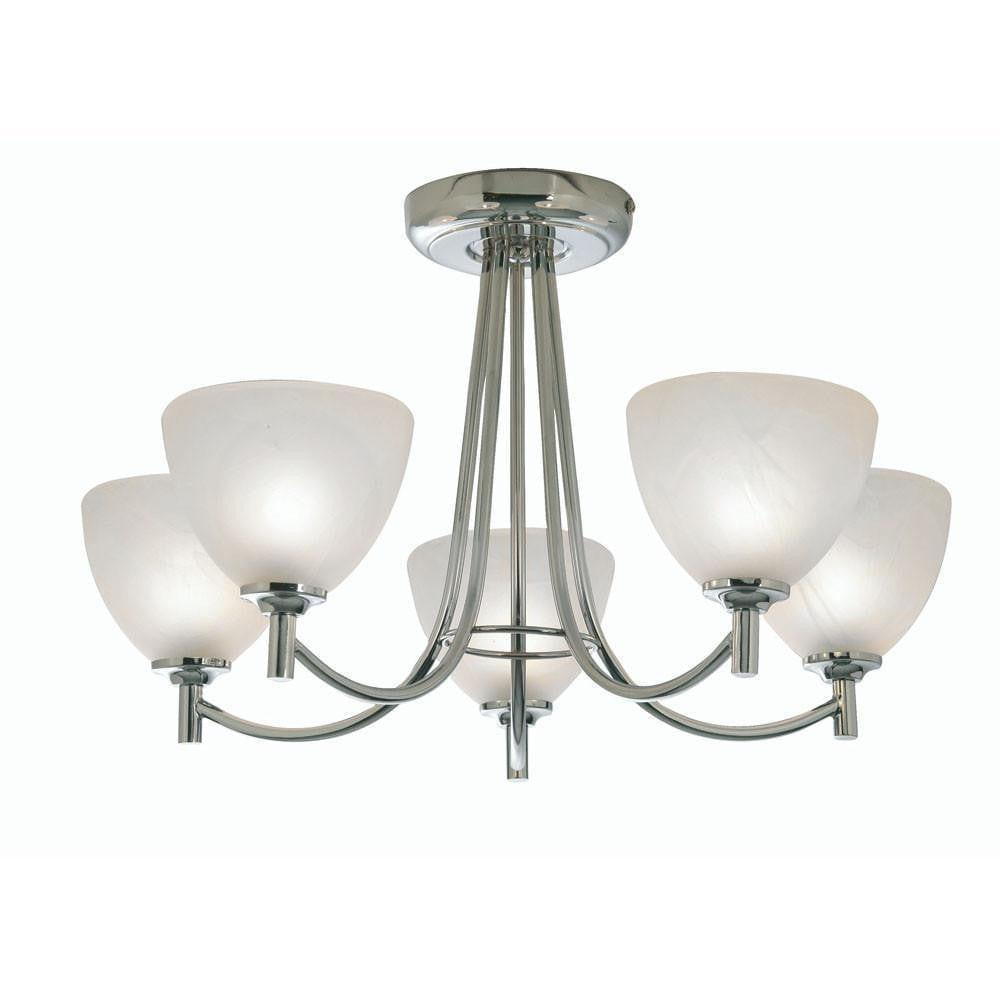Art Deco Ceiling Light - Hamburg 5 Arm Chrome Finish Art Deco Ceiling Light 1178/5 CH
