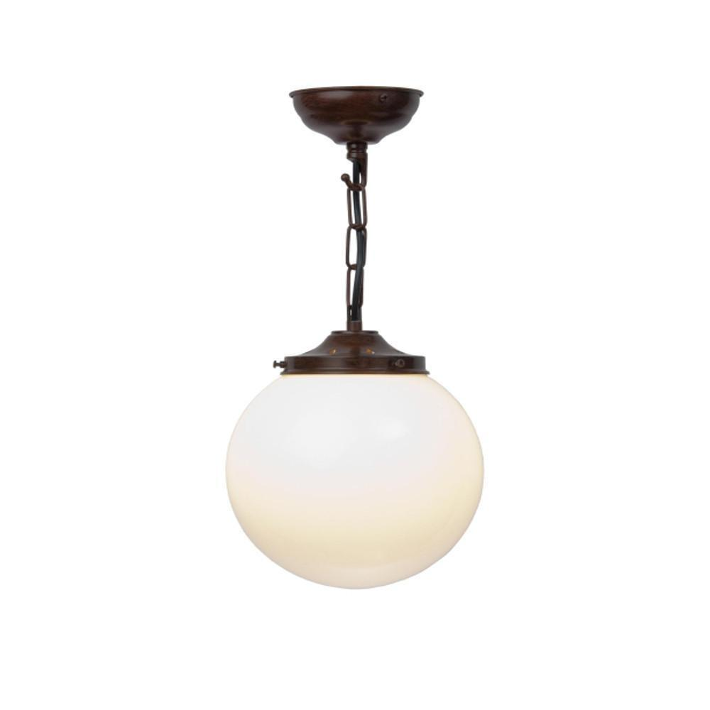 Art Deco Ceiling Light - Kansa White Flashed Opal Antique Bronze Ceiling Light WFO43