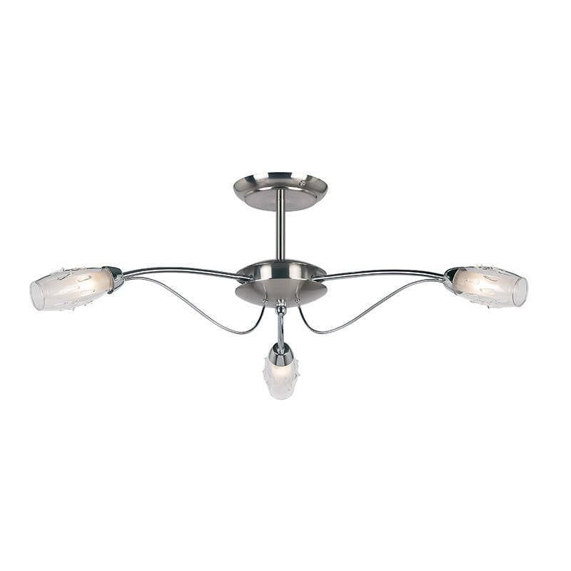 Art Deco Ceiling Light - Mercury 3 Arm Satin Nickel Finish Flush Ceiling Light 9009-3SC