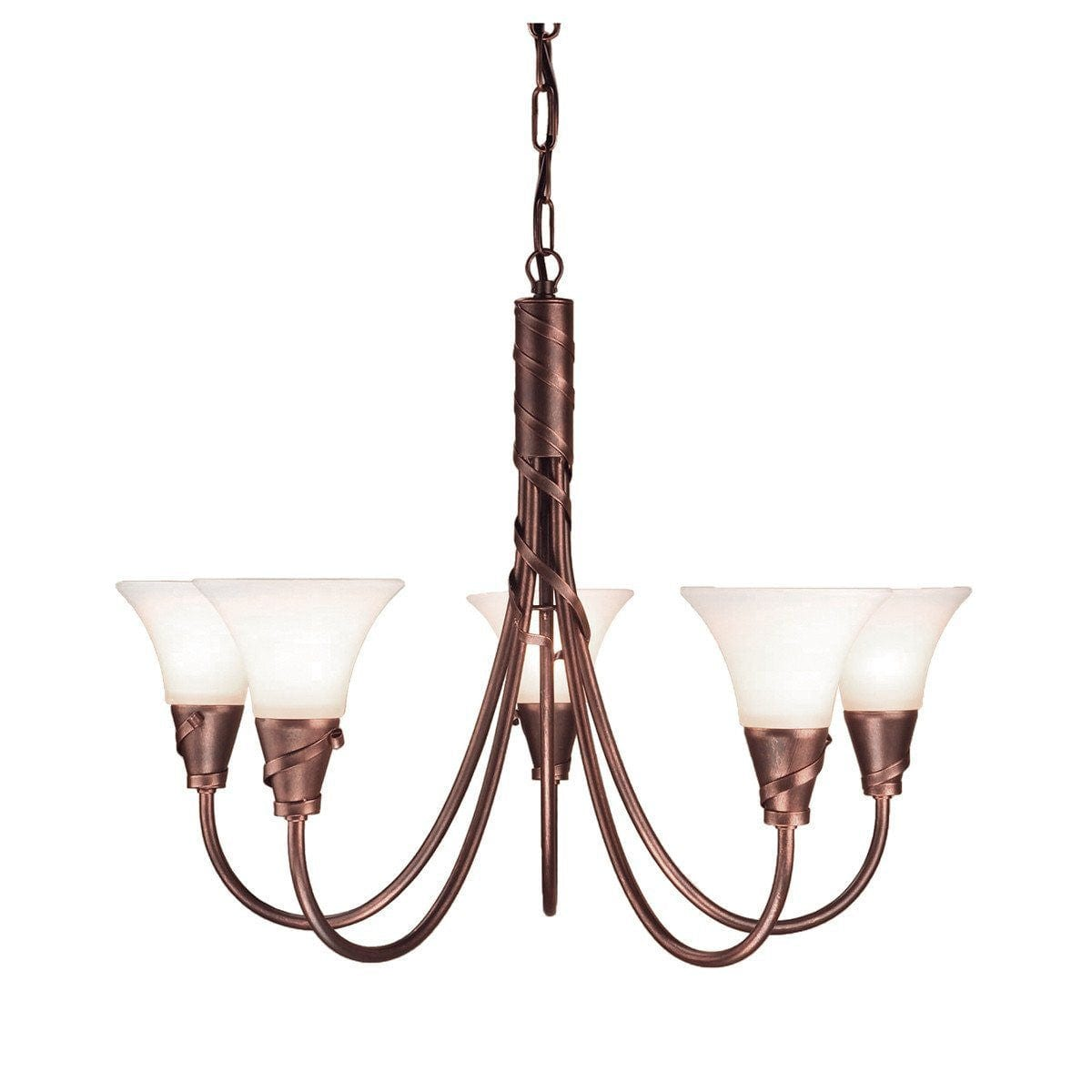 Art Deco Ceiling Lights - Emily Copper Patina Finish 5 Light Chandelier EM5 CP