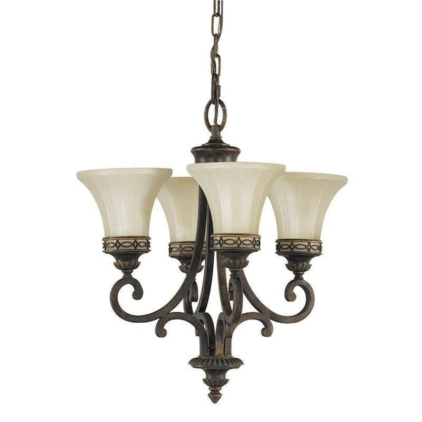 Art Deco Ceiling Lights - Feiss Drawing Room Walnut Finish Duo Mount 4 Light Chandelier FE/DRAWING RM4