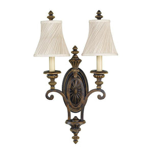 Art Deco Ceiling Lights - Feiss Drawing Room Walnut Finish Twin Arm Wall Light With Fabric Shades FE/DRAWING RM2