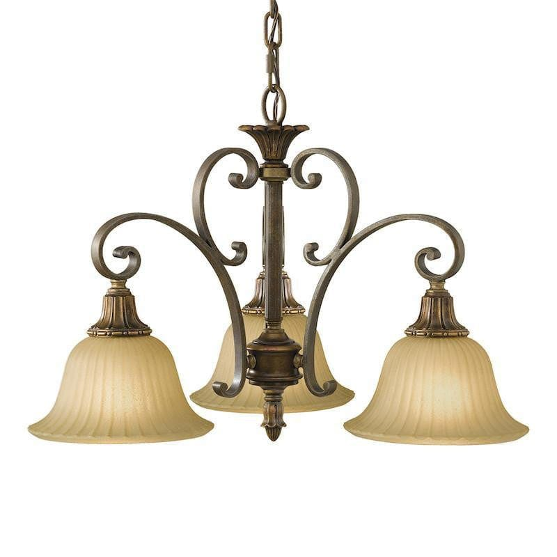 Art Deco Ceiling Lights - Feiss Kelham Hall Firenze Gold And British Bronze Finish 3 Light Downlighter Chandelier FE/KELHALL DN3LT