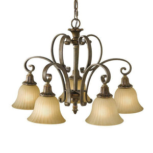 Art Deco Ceiling Lights - Feiss Kelham Hall Firenze Gold And British Bronze Finish 5 Light Downlighter Chandelier FE/KELHALL DN5LT