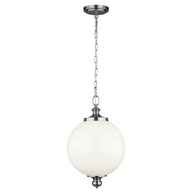Art Deco Ceiling Lights - Feiss Parkman Brushed Steel Finish Large Pendant Ceiling Light FE/PARKMAN/PL BS