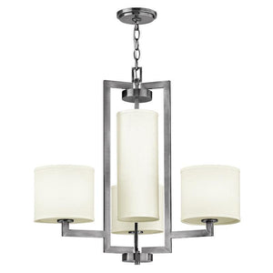 Art Deco Ceiling Lights - Hinkley Hampton Antique Nickel Finish 4 Light Chandelier HK/HAMPTON4
