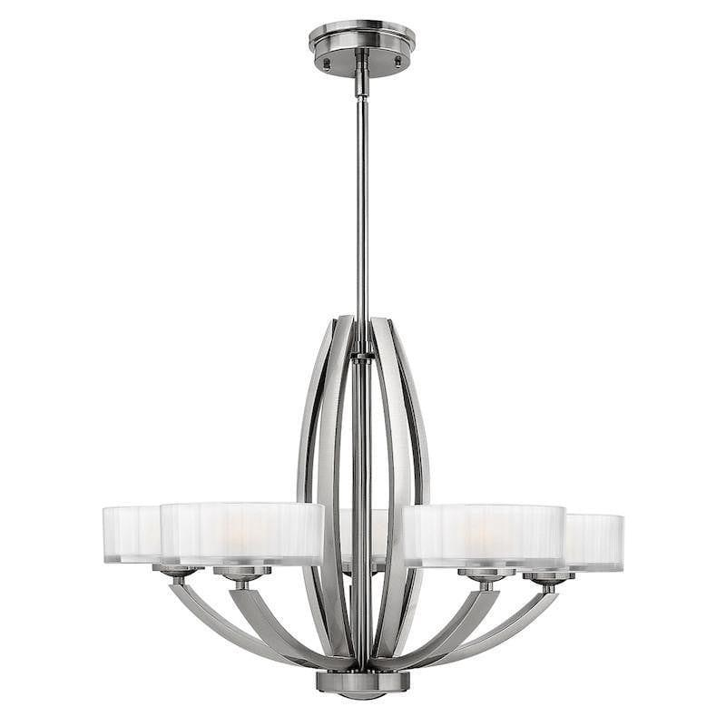 Art Deco Ceiling Lights - Hinkley Meridian Brushed Nickel 5 Light Chandelier HK/MERIDIAN5