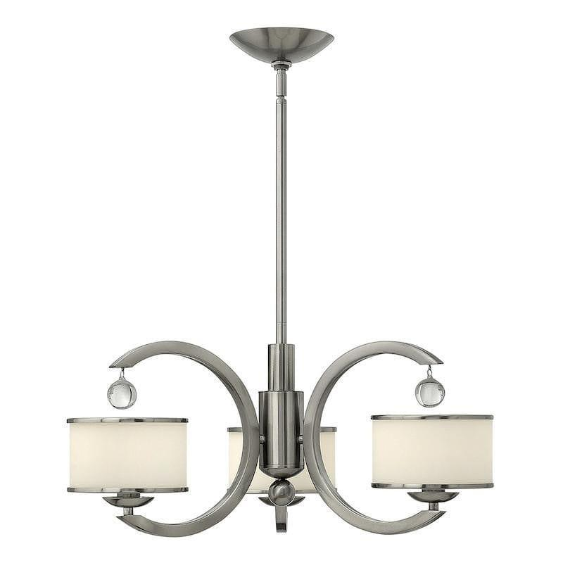 Art Deco Ceiling Lights - Hinkley Monaco Brushed Nickel Finish 3 Light Chandelier HK/MONACO3