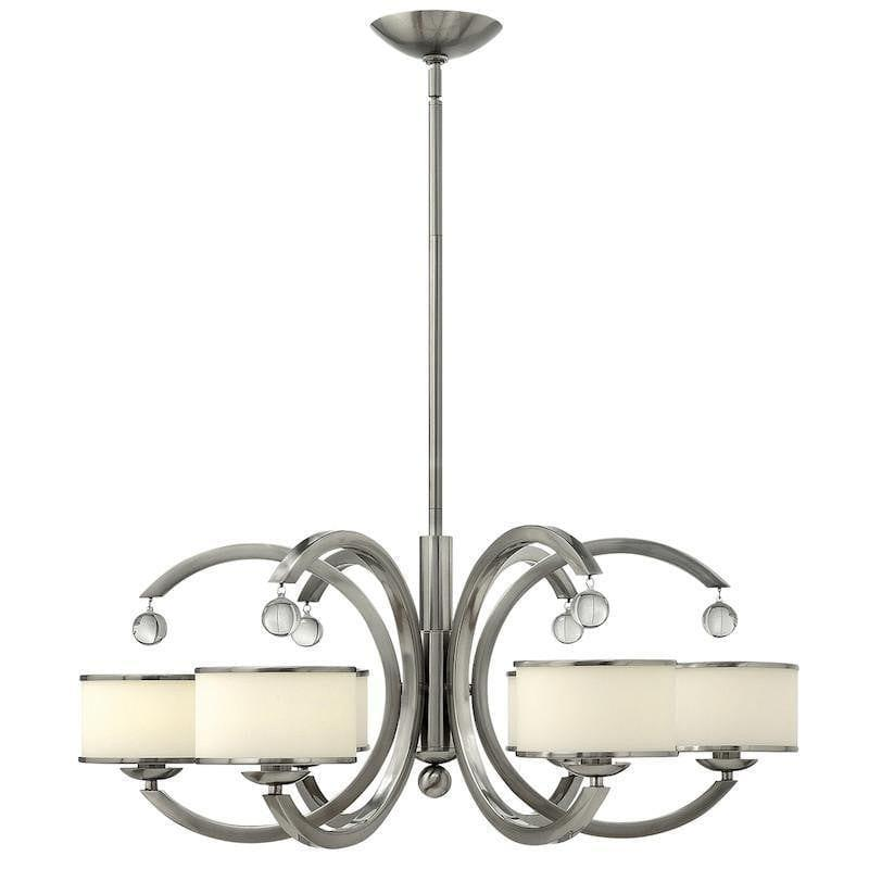 Art Deco Ceiling Lights - Hinkley Monaco Brushed Nickel Finish 6 Light Chandelier HK/MONACO6