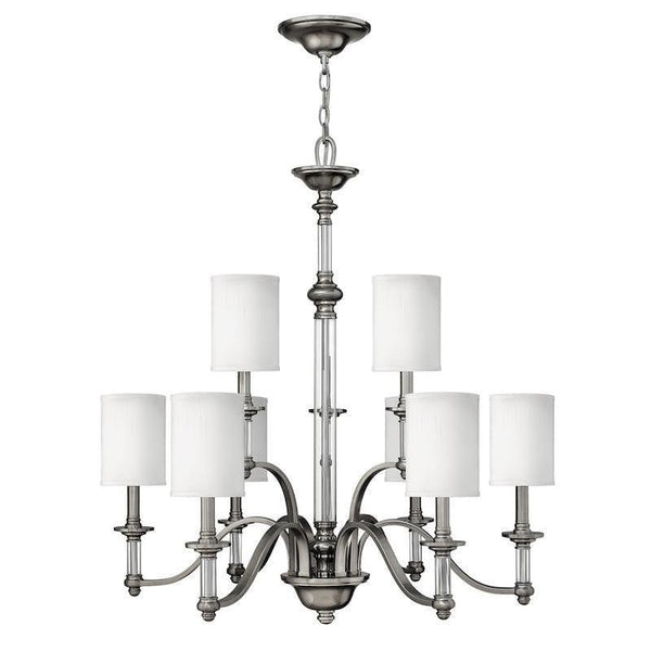 Art Deco Ceiling Lights - Hinkley Sussex Brushed Nickel Finish 9 Light Chandelier HK/SUSSEX9