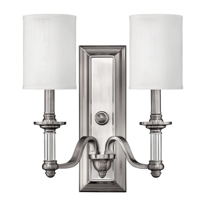 Art Deco Ceiling Lights - Hinkley Sussex Brushed Nickel Finish Twin Arm Wall Light HK/SUSSEX2