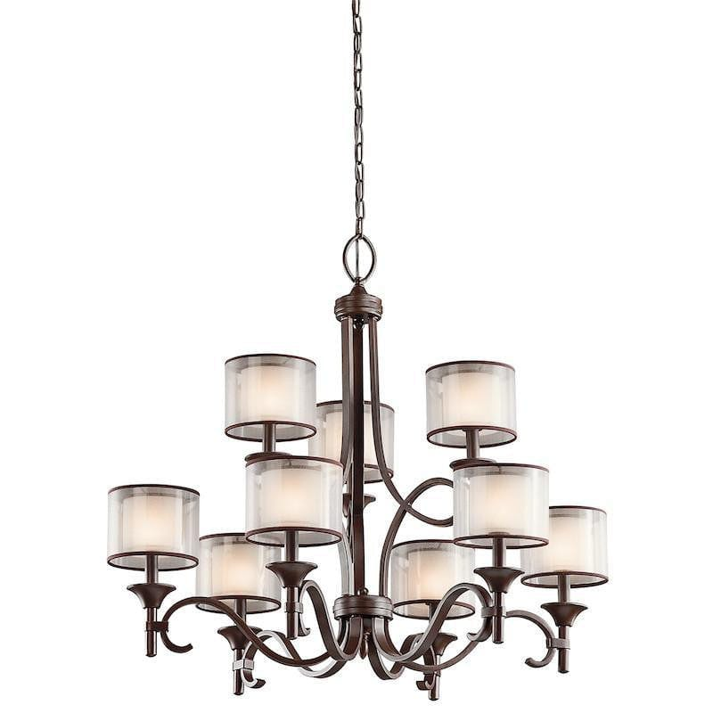 Art Deco Ceiling Lights - Kichler Lacey Mission Bronze Finish 9 Light Chandelier KL/LACEY9 MB