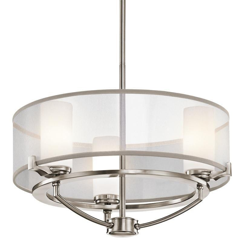 Art Deco Ceiling Lights - Kichler Saldana Classic Pewter Finish 3 Light Chandelier KL/SALDANA3
