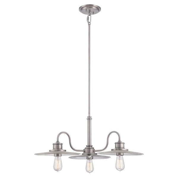 Art Deco Ceiling Lights - Quoizel Admiral Antique Nickel Finish 3 Light Chandelier Light QZ/ADMIRAL/3P AN
