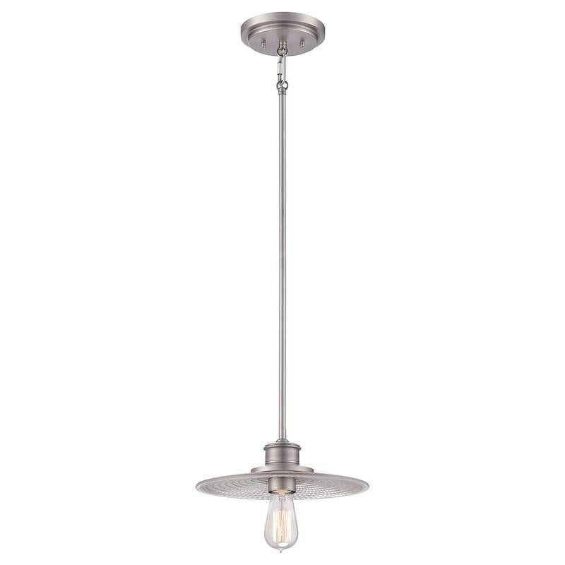 Art Deco Ceiling Lights - Quoizel Admiral Antique Nickel Finish Small Pendant Ceiling Light QZ/ADMIRAL/P AN