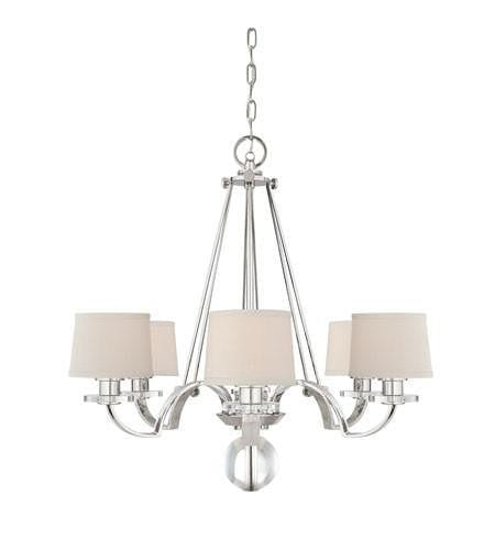 Art Deco Ceiling Lights - Quoizel Sutton Place Imperial Silver Finish And Cream Milano Fabric Shade 6 Light Chandelier QZ/SUTTON PL6