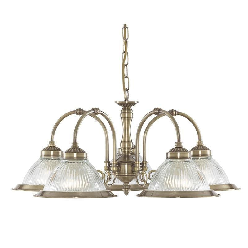Art Deco Ceiling Lights - Searchlight American Diner Antique Brass Finish And Clear Ribbed Glass 5 Light Pendant Ceiling Light 9345-5