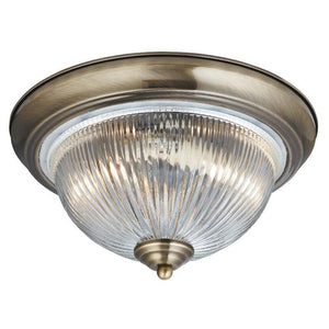 Art Deco Ceiling Lights - Searchlight American Diner Antique Brass Finish And Clear Ribbed Glass Flush Ceiling Light 4370