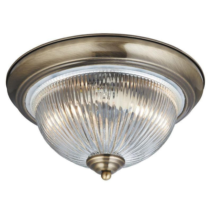 Searchlight American Diner Antique Brass Finish And Clear Ribbed Glass Flush Ceiling Light 4370