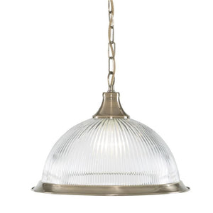 Art Deco Ceiling Lights - Searchlight American Diner Antique Brass Finish And Clear Ribbed Glass Pendant Ceiling Light 9369