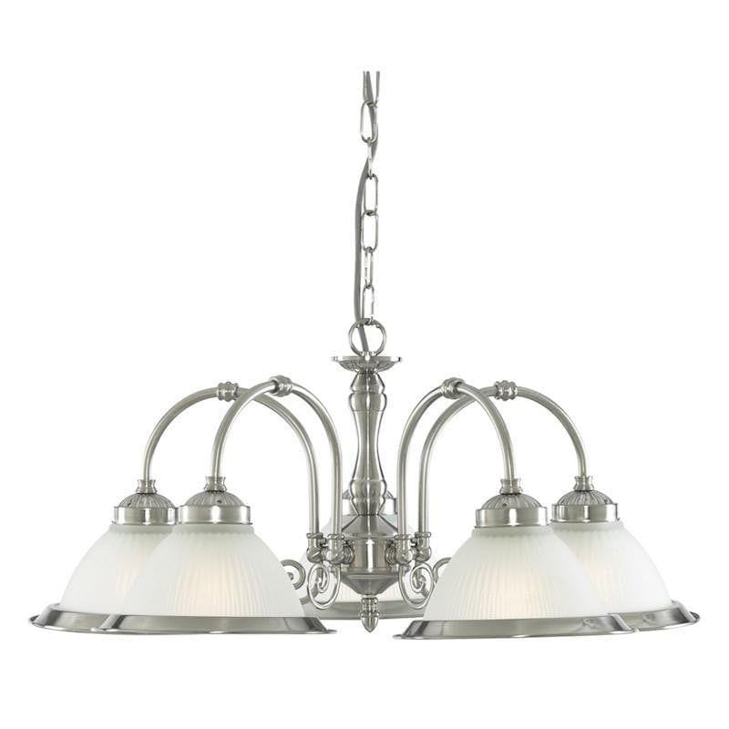 Art Deco Ceiling Lights - Searchlight American Diner Satin Silver Finish And Acid Ribbed Glass 5 Light Pendant Ceiling Light 1045-5