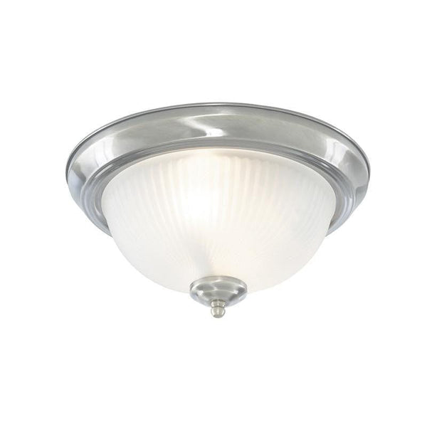 Art Deco Ceiling Lights - Searchlight American Diner Satin Silver Finish And Acid Ribbed Glass Flush Ceiling Light 4042