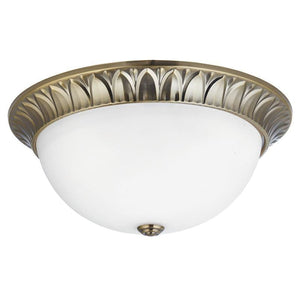 Art Deco Ceiling Lights - Searchlight Antique Brass Finish And Frosted Glass Large Flush Ceiling Light 4149-38AB