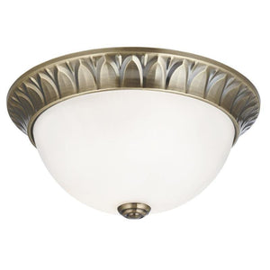 Art Deco Ceiling Lights - Searchlight Antique Brass Finish And Frosted Glass Medium Flush Ceiling Light 4148-28AB