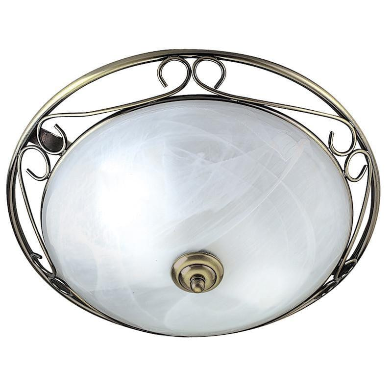 Art Deco Ceiling Lights - Searchlight Antique Brass Finish And Marble Glass Grecian Style Flush Ceiling Light 6436