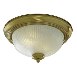 Art Deco Ceiling Lights - Searchlight Antique Brass Finish And Ribbed Opal Glass Flush Ceiling Light 7622-11AB